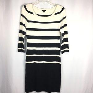 Ann Taylor Black and Cream Stripe Sweater Dress